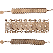 SALE Vintage Judaica silvertone bracelet Star of David and Menorah