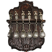 19th Century Carved Hanging Wooden Spoon Rack With 6 Decorative Pewter Spoons