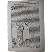 "16th Century Woodcut of a ""Cosmograph""  / Book page of Cosmographia (Sebastian Müns"
