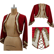 SALE 19th Century Antique Red Velvet Cropped Jacket with metal work