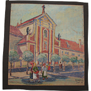 1918 Original Art Nouveau Aquarelle Painting of The Baroque Church in Lublin Poland by Franz .