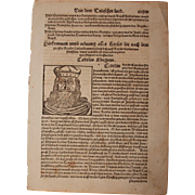 "16th Century Woodcut of ""Charlemagne"" / Charles the Great / Carolus Magnus - Book pa"