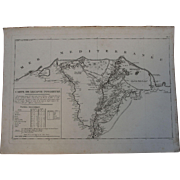 "SALE 1802 Original Copper Engraving Map of Egypt from ""Napoleons Travels to Egypt"" ("