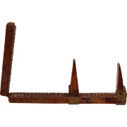 19th Century French Shoe Cobbler's Measuring Stick - Wood & Brass