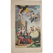 SALE 17th Century Cover Page of Atlas Major of C. Allars featuring Greek Gods