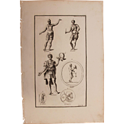 18th Century Copper Engraving of Ancient Soldiers from L'antiquité expliquée et représenté