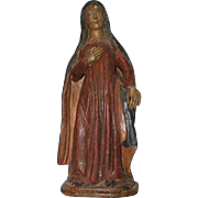 15th Century Sculpture of Virgin Annunciate - Renaissance Wood Carved Polychrome Figure of Mar