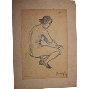 "19th Century Original Charcoal Drawing ""Nude Young Lady"" by Franz Brantzky"