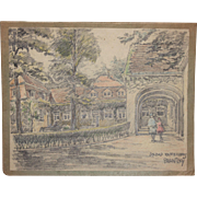 1910's Original Art Nouveau Charcoal and Pastel Painting of the Saltwater Spa of Raffelsberg .