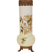Antique white opalescent opaline glass vase with gilt detail