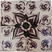 18th century Set of 4 Dutch Delft Purple and White Pottery Tiles with Flower pattern