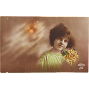 SOLD 1921 Postcard of of little girl with rose - colored real photo