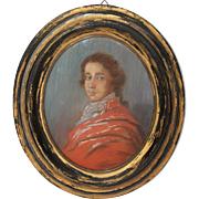 SALE 19th Century Painting of Young Man from Germany Biedermeier circa 1835 in Crayon