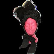 SALE Victorian Antique Black Silk Velvet and Feathers Bonnet - Hat