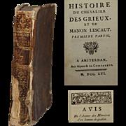 18th Century French Book - historie du chevalier des grieux et de manon lescaut by Abbé ...