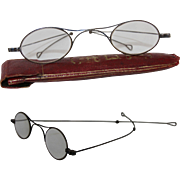 19th Century Glasses in Original Case / Skinny Steel Spectacles with beautiful Gilt Case