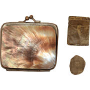 SALE Victorian Change Purse Mother of Pearl Souvenir Heligoland with original Photos