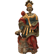 SALE 17th Century Statue of St. Florian from Alpine Europe Polychrome hand carved Wood