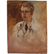 SALE Oil Painting Study of a Young Doctor by Arno Hartwig from Breslau (circa 1940)