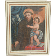 SALE 19th Century Oil Painting of St Anthony of Padua and Jesus Christ