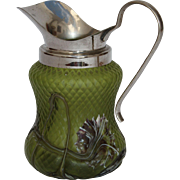 REDUCED 1900's Art Nouveau Kralik Creamer with applied flower decoration - Bohemian Glass