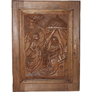 SALE 18th Century Annunciation Day Scene / Wood carved Depiction of the Annunciation to the ..