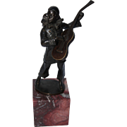 Early 20th Century Bronze Statue of a Pierrot playing the Lute / Jester with Guitar