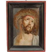 19th Century Reverse Glass Painting of Jesus with the Crown of Thorns - Verre Eglomisé ...