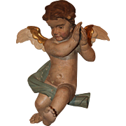 SALE 17th Century Putti / Angel / Cherub Baroque Statue from Northern Europe - Polychrome Wood