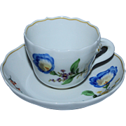 SALE Vintage Meissen Cup & Saucer, Blue Poppy