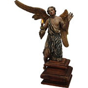 SALE 18th Century Putto / Angel / Cherub Baroque Statue from Continental Europe - Polychrome .