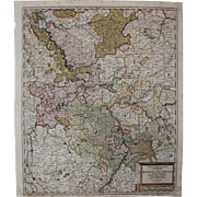 SALE 17th Century Map showing the course of the Rhine River including Strasbourg, Cologne and