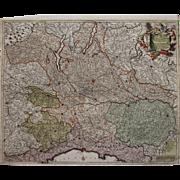 SALE 17th Century Antique Baroque map of North Italy including Parma, Milan, Lake Garda, Genoa