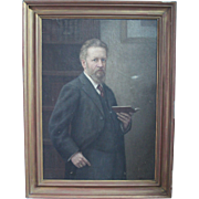 1913 Self Portrait of M. Duntz - Large Oil Painting on Canvas from Germany