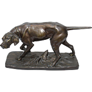 SALE Original Antique Bronzed Metal Sculpture of Hunting Dog, France circa 1910