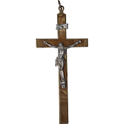 Large Crucifix / Pectoral Cross with Bakelite Mother of Pearl Inlay from Germany