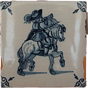 17th Century Delft Tile - 	Equestrian in Uniform - Horseman with Horn - Dutch Blue & White Til