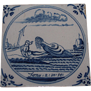 "SOLD 17th Century Delft Tile - ""Jonah and the Whale"" Bible Scene of Book Jonah - Rel"