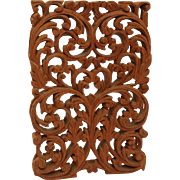 Vintage Arabic Style Wood Carved Window Panel - Floral Design