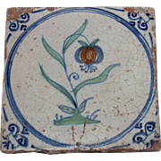 "SALE RARE 17th century Dutch Delft Polychrome Pottery Tile ""Flower on Turf"""