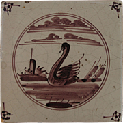SALE 18th century Dutch Delft Purple and White Pottery Tile with Swan