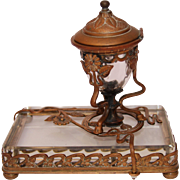 SALE Antique Art Nouveau Gilt Bronze and Crystal Inkwell