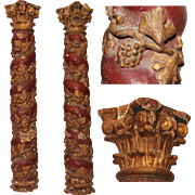 SALE 17th Century Set of 2 Baroque contorted Polychrome Columns with Wine Gilt (Wood carved)