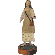 SALE 18th Century Baroque Statue of a woman - Polychrome carved wood