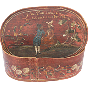 SALE 18th Century Large Hat Box / Bonnet Box from Germany / Wood / Hand Painted