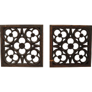 SALE 19th Century Set of 2 Carved Wood Window Panels - Gothic Design
