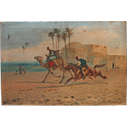 SALE Oriental Oil Painting by English Artist John Coulson 1924 with Horse and Camel