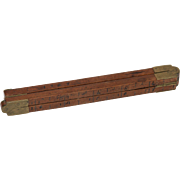 18th century Wooden & Brass Folding Ruler / Yardstick from Germany