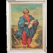 SALE Original Baroque Style Oil Painting of Apostle St. Jude (Judas Thaddaeus) by Josef ...