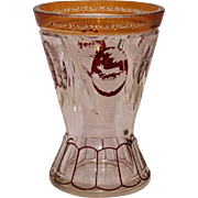 SALE 19th Century Bohemian Lead Crystal Amber & Ruby Vase with Wildlife & Flower Engraving